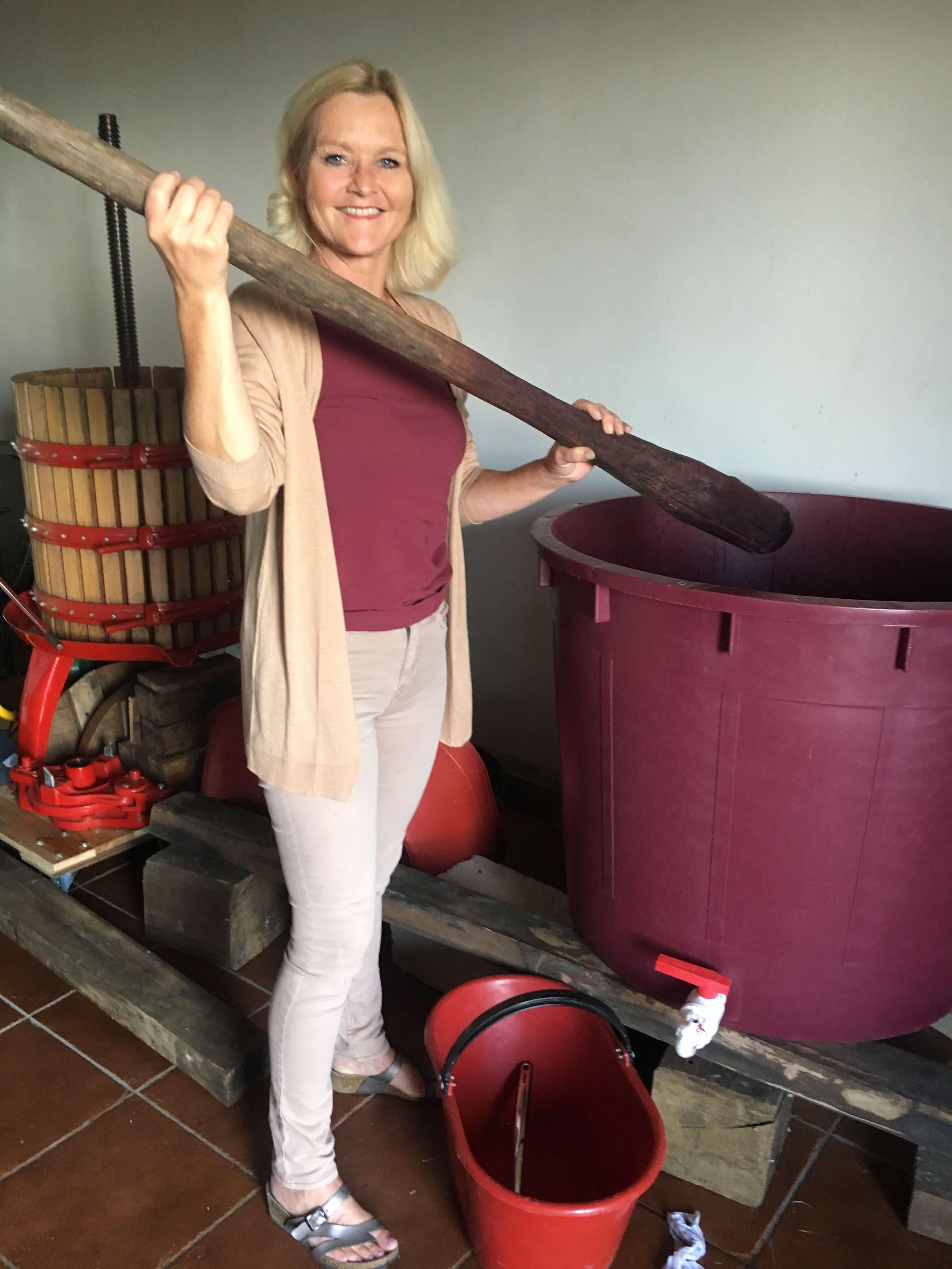 Årets druer er høstet og står i vinkjelleren for å bli til vin. For at det skal skje, må jeg påse at druene gjærer. Det er en utrolige spennende tid.