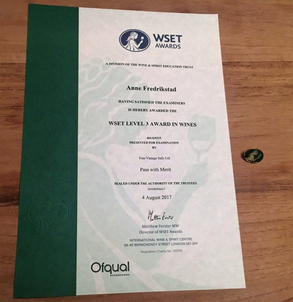 Hva skal til for å følge drømmen? Lidenskap, mot og kompetanse er viktig for min vindrøm. Nå har jeg fått en ny tittel WSET 3 sertifisert. Den kan gi meg nye muligheter!